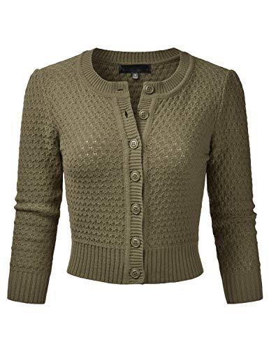 EIMIN Women's Crewneck Button Down 3/4 Sleeve Knit Crop Cardigan Sweater Olive L