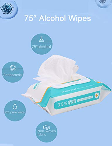 """Disinfectant Wipes, 75% Alcohol Cleaning Wet Wipes(1 Pack,60 Wipes,8""""X4.6""""), Daily Disinfecting Use for Hand Home House Travel Office Electronics School All Purpose"""