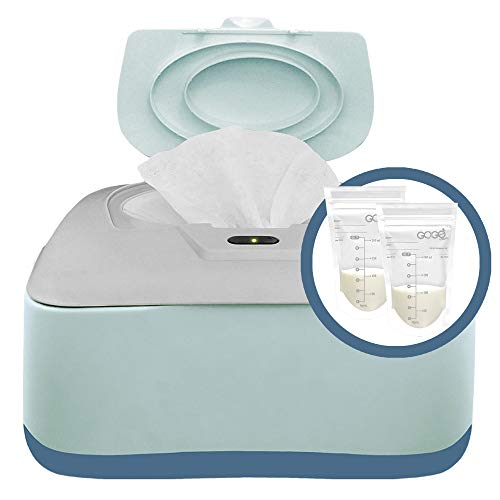 Baby Wipe Warmer, Dispenser, Holder and Case with Bonus 30 Breastmilk Storage Bags – Warmer with Easy Press On/Off Switch, Great Combination, Great Baby Shower Gift, Only Available at Amazon