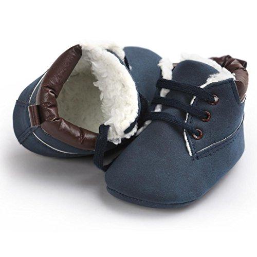 Jamicy® Kleinkind weiche Sohle Leder Schuhe Winter warme Babyschuhe aus Baumwolle Krippe