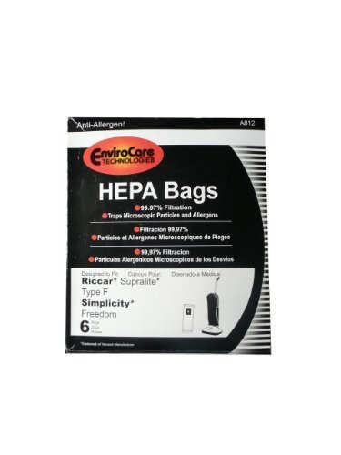 6 Riccar HEPA Type F Vacuum Bags, Simplicity, Freedom, Supralite, Canister Vacuum Cleaners, RSLH-6, SF-6, RSL1, RSL1A, RSL1AC, RSL3C, RSL2, RSL3, RSL4, RSL5, RSL5C, SLPLUS, RFH-6, F3500 Model: RSLH-6, SF-6, RSL1, RSL1A, RSL1AC, RSL3C (Riccar Supralite Type)