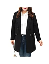 MSSHE Women's Double Breasted Blazer Jacket Long Sleeve Pockets Blazer Plus Size