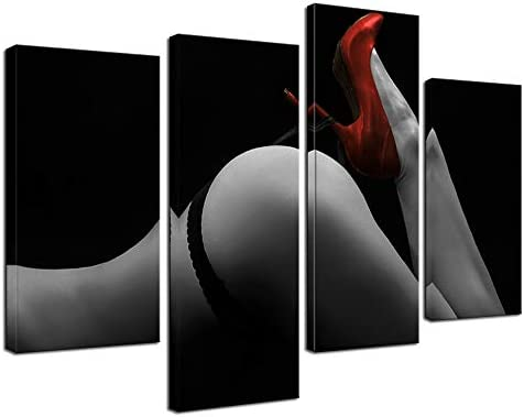 sechars – Modern Canvas Painting Wall Art,Sexy Woman Red High-Heeled Shoes Pictures for Bedroom Decor,Nude Paintings Framed and Ready to Hang
