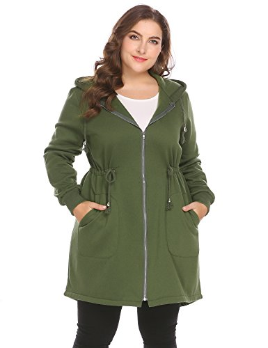 Women's Plus Size Casual Zip up Fleece Hoodies Long Tunic Hooded Sweatshirt Jacket Coat Outerwear with ()
