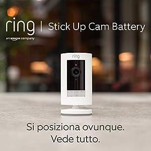 Ring Stick Up Cam Battery, videocamera di sicurezza in HD con sistema di comunicazione bidirezionale, compatibile con Alexa | Colore bianco