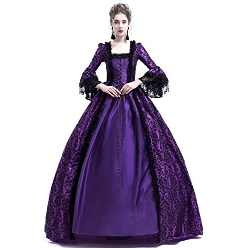 Womens Royal Retro Medieval Renaissance Dress,Lady Masquerade Princess Dress Lace up Floor Length Gown Cosplay Costume S-3XL (M, -