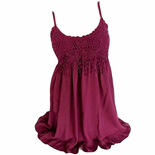 - Tunics Top Dress for Women,Summer Tassels Blouse Lace Sleeveless Shirt Hem Dress Sleepwear Tankinis Plus Size S-5XL Red
