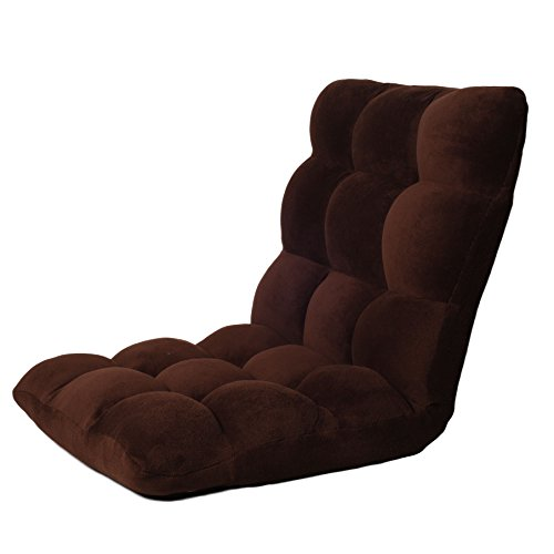 Ollypulse Indoor Thick Padded Five Position Multiangle Adjustable Floor Sofa Chair, Brown