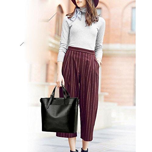 Mujer Europa Y Los Estados Unidos Nuevo Moda Tendencia PU todo-fósforo Bolso Bolso Solo Color Capacidad Grande Bolso Black