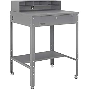 Flat Top Shop Desk w Pigeonhole Compartments /& Electrical Outlets 34-1//2W x 30D Gray