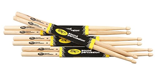 Sound Percussion Labs Hickory Drumsticks 4-Pack 5B Wood ()