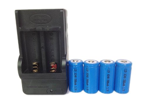 ON THE WAY®4 Pcs 16340 2000mah Li-ion 3.7V Rechargeable Battery with Charger