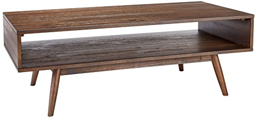 Ashley Furniture Signature Design - Kisper Contemporary Rectangular Cocktail Table with Storage Shelf - Dark Brown - Contemporary Table