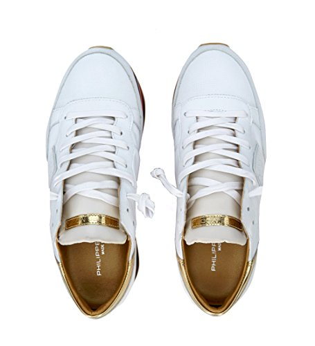 Philippe Model Sneakers Eiffel Wit In Leer En Goud Wit