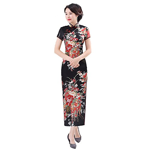 e82eacdae2b Shanghai Story Faux Silk Chinese Dress Long Cheongsam Floral Qipao for Women