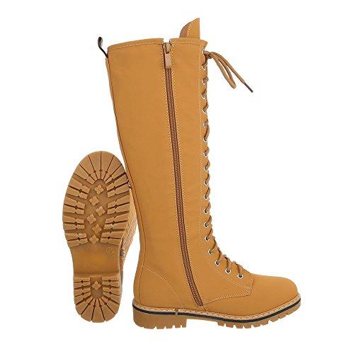 Ital-Design Schnürstiefel Damenschuhe Schnürstiefel Blockabsatz Schnürer Reißverschluss Stiefel Camel