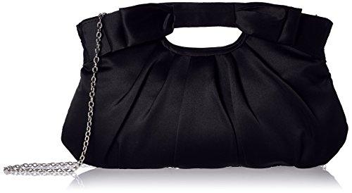 Handbag Satin Evening Bag - Jessica McClintock Becca Satin Ruched Clutch Eveing Shoulder Bag, Black