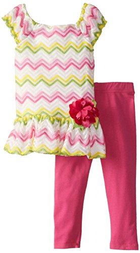 Sweet Heart Rose Baby Girls' Crochet Chevron Legging Set, Pink/Multi, 24 Months