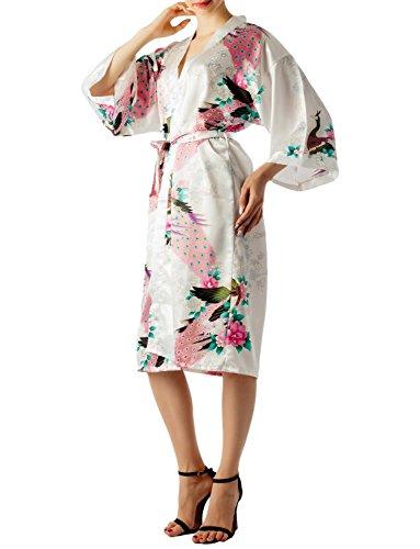 iB-iP Mujer Pavo Real Y Ciruelo Florecen De Estilo Kimono Japonés Midi Bata Blanco