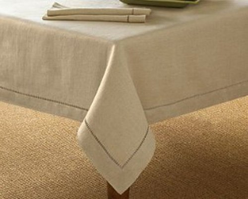Handmade Hemstitch Design Natural Tablecloth. One Piece. 90 Inch - Tablecloth Square 90 Polyester Inch