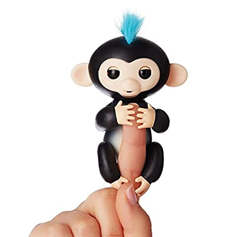 Fingerlings - Interactive Baby Monkey - Finn (Black with Blue Hair) By WowWee - Toys and Games