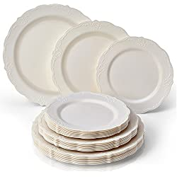 Vintage Collection Set of Cream Dinner, Salad & Dessert Plates Embossed Rim Design Disposable Dinnerware - Great for Formal Dinners, Weddings, and Holidays (Set of 30)