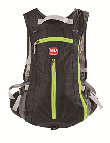 Hiking Backpack, MALEDEN Wate Resistant Outdoor Sports Daypack for Cycling, Skiing, Climbing and Travelling with Helmet & Bottle Holders (Black, 15L)