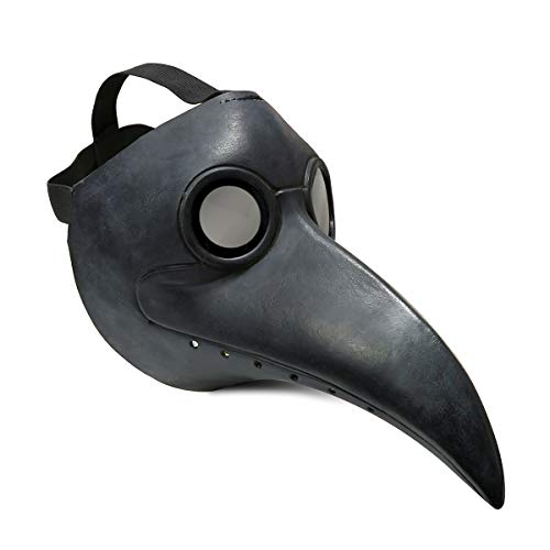 Townshine Plague Doctor Bird Mask Latex Long Nose Beak Cosplay Steampunk Halloween Mask Costume Props Black