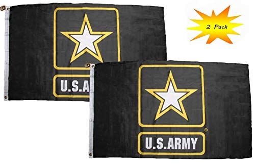 ALBATROS 3 ft x 5 ft 3x5 Set (2 Pack) Black Army Star Logo Emblem Flag Banner for Home and Parades, Official Party, All Weather Indoors Outdoors