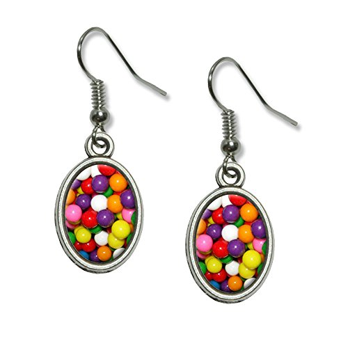 Gumballs Candy Novelty Dangling Drop Oval Charm Earrings]()