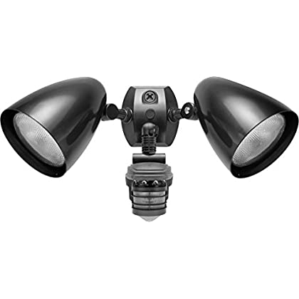 Image of (2 Pack) Rab Lighting STL360HB Super Stealth 360 Sensor with Twin Precision Die Cast HB101 Bullet Floods, 360 Degrees 1000W Power, 120V, Bronze Home Improvements
