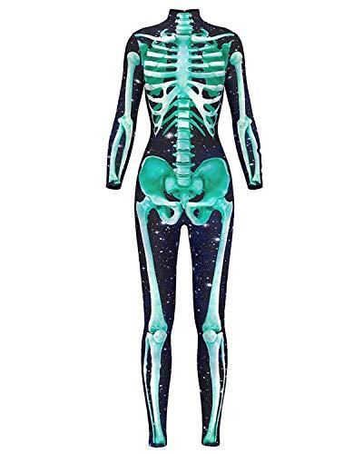 Women 3D Style Halloween Cosplay Costumes Jumpsuit Bodysuit (Medium, Green Skeleton Jumpsuit) -