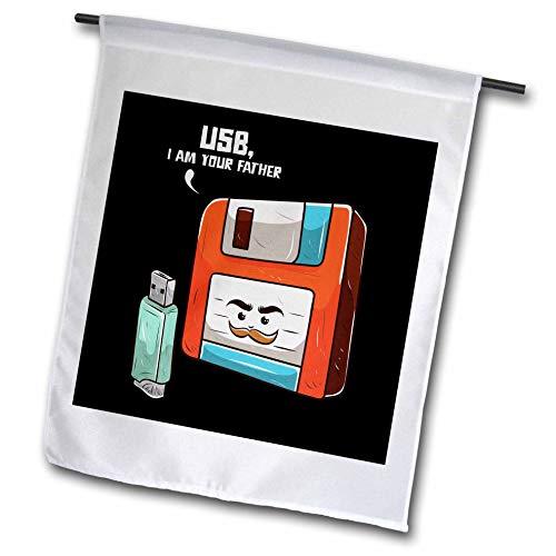 3dRose Sven Herkenrath Nerd - Retro Graphic with USB Stick and Floppy Disk Vintage Nerd - 18 x 27 inch Garden Flag (fl_308581_2)