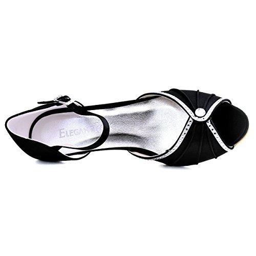 Sera Pieghe Basso Strass Toe Pattini HP1623 i ElegantPark Partito Nero Pompa Di Tacco Vestito Da Sandali Raso Peep Da Donna wpxqUxXYF