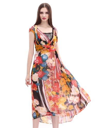 Maxchic Women's V-neck Cap Sleeve Empire Waist Pleated Floral Print Maxi Dress X11394Y14M,Medium