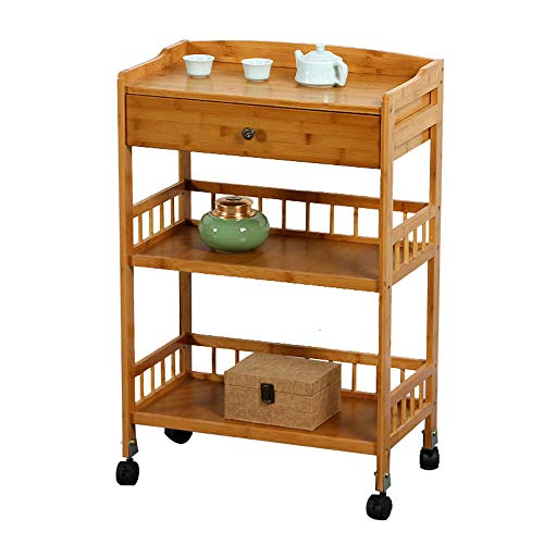GaoLP Multifunctional 3-Layer Wooden/Metal Kitchen Storage Trolley Drawer Bar Service Trolley with Fenced Hair Salon Beauty Salon Storage Trolley (Times Square Mit Kindern)