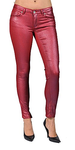 Women's Solid Coated Burgundy Skinny Jeans (13)