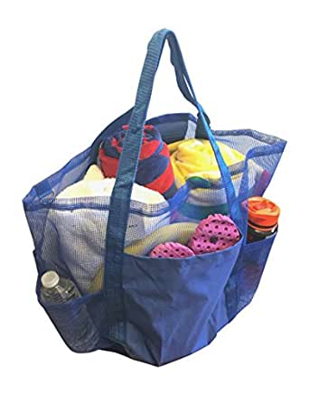 Super Large Family Mesh Beach Tote Bag w/Waterproof Phone Case (Royal Blue)