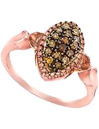 10K Rose Gold Brandy Diamond Chocolate Brown Beautiful Marquise Ring 1/5 Ctw.
