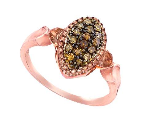 Marquise Diamond Ring Settings (10K Rose Gold Brandy Diamond Chocolate Brown Beautiful Marquise Ring 1/5 Ctw.)
