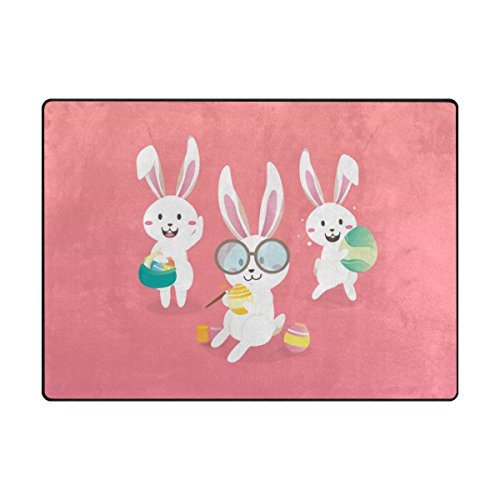 ALAZA My Daily Hello Easter Bunny Rabbit Colorful Eggs Area