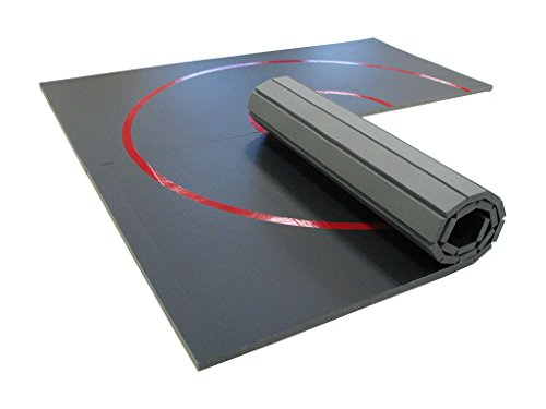 AK Athletics 10' x 10' Roll-Up Home Use Wrestling Mat Black with Red Circles by MatsPlus