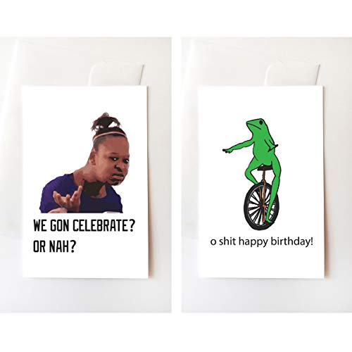 Dat Boi & Confused Girl Meme Happy Birthday Greeting Card Set, Funny, Internet, Memes, Unique