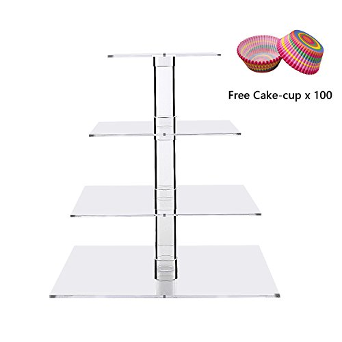 Square 4-Tier Cake and Pastry Tower, Serving Tray Cupcake Display Serving Platter for Weddings, Pastries, Birthday, Graduation ()