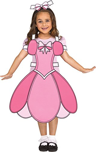 Fun World Paper Doll Costume, Small 6-8, Multicolor