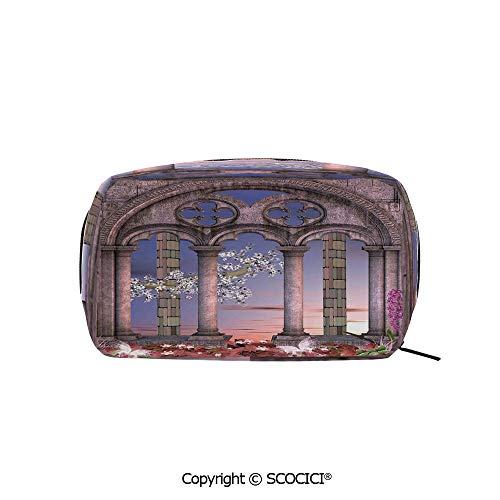 Rectangle Organizer Toiletry Makeup Bags Pouch Ancient Colonnade in Secret Garden with Flowers at Sunset Enchanted Forest Portable Makeup Brushes Bag