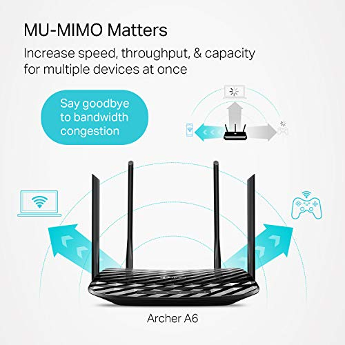 Image of TP-Link AC1200 Gigabit WiFi Router (Archer A6) - 5GHz Gigabit
