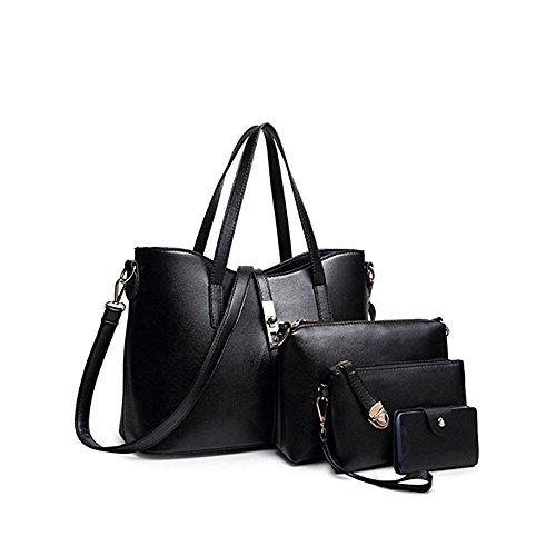 tarjeta Mujeres Totalizador Negro Moda Billetera de la de PU Set cuero bolso hombro de Mano bolso 4pcs titular SIFINI d6HTd