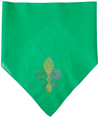 Mirage Pet Products Mardi Gras Fleur De Lis Rhinestone Bandana, Emerald Green, Large by Mirage Pet Products