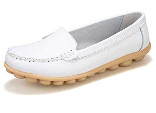 Bumud Womens Leather Flat Walking Driving Shoes Slip-On Loafers White j0pnRZ2z